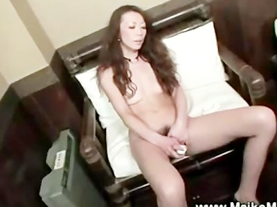 Japanese plays with hairy pussy