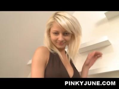 Teen sensation Pinky June pleasing her fans in racer costume